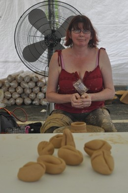 Demonstrating during the festival
