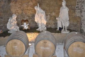 I love this nativity scene which contains no three wise men, but three wine barrels instead and a Roman soldier!