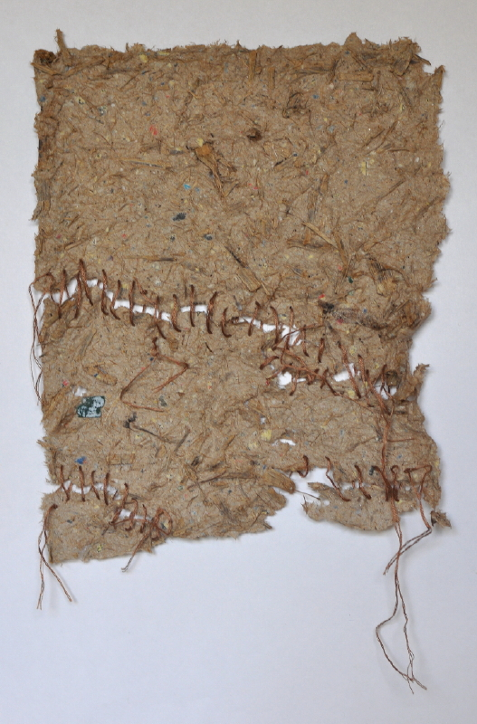 Eucalyptus pulp, recycled paper pulp and embroidery cotton