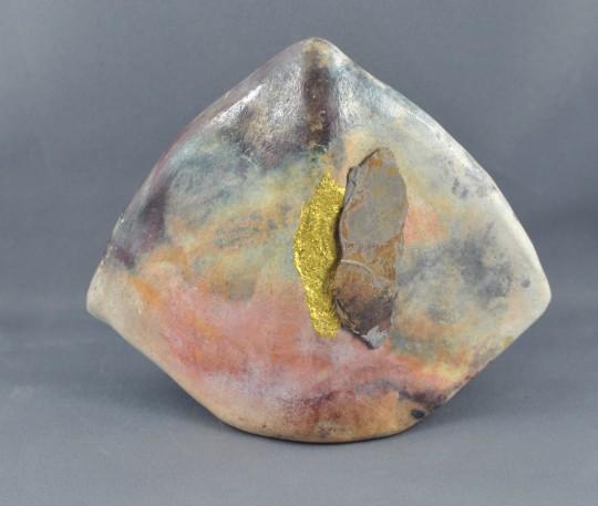 Handbuilt Pit Fired Ceramic with goldleaf and slate sliver