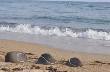My artworks on the beach that inspired them in Golf Juan, France