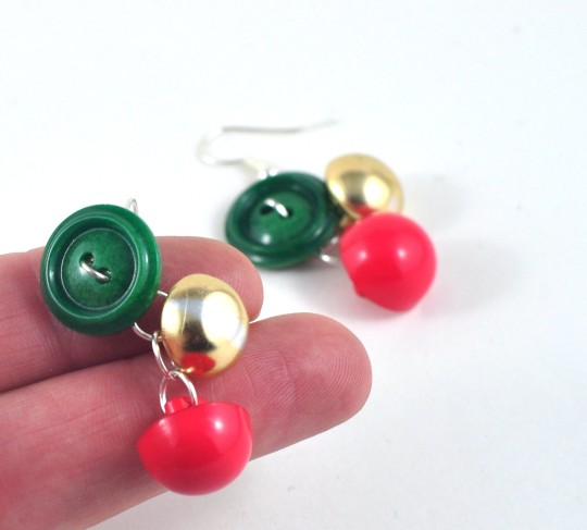 Christmas colours upcycled button earrings