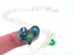 ceramic heart on silver chain necklace