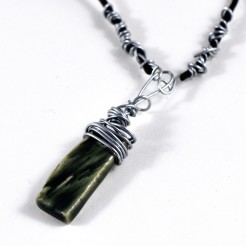 green wirewrap necklace