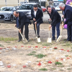 Turnign the soil where the monument will be installed