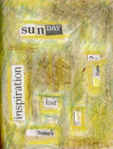 Collage- mixed media and wax on Handmade paper
