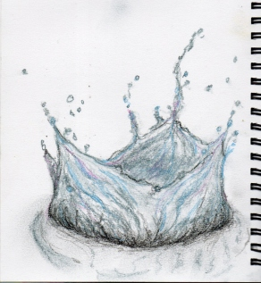 Splash - tinted charcoal and coloured pencil