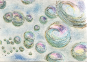 Bubbles - tinted charcoal and coloured pencils