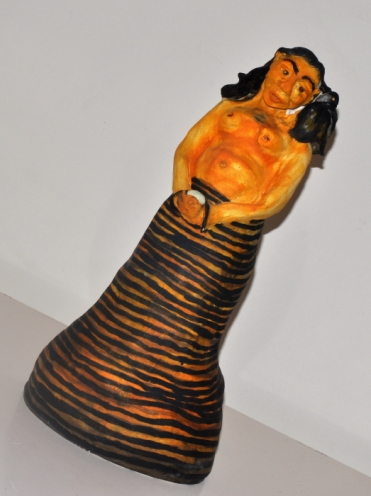 Deanne Gilson: Waa Whispering into the Bunyip Brides Ear - Handbuit Clay with Oil Paint