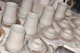freshly thrown cups & lids