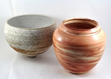 Wheelthrown Marbled Ware Stoneware (left) Eartenware (right) 2002