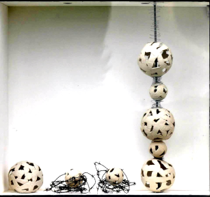"""""""Space for Memories"""" 2014 Handbuilt Porcelain & Barbed Wire"""