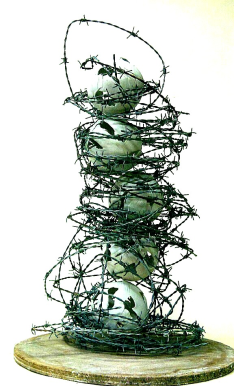 """Angry Worlds"" 2014 - Handbuilt Porcelain & Barbed Wire"