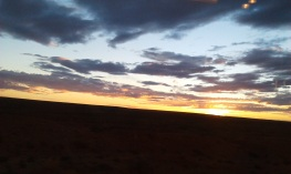 Sunset from train window between Adelaide and Alice Springs