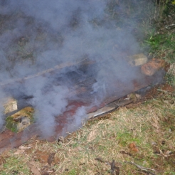 After finishing with a final layer of wood the pit is covered with tin to allow for a slow combust over night.