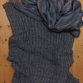 Retail therapy - sleevless knit tunic top & matching scarf