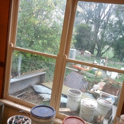 Glaze room - still a bit of sorting & tidying to do in the yard!