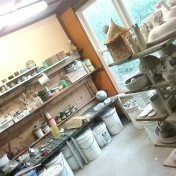 New glaze room! Lots of natural light.