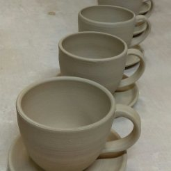Finished cups and saucers drying