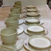 Freshly thrown cups and saucers