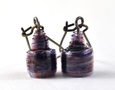 upcycled plastic bead earrings