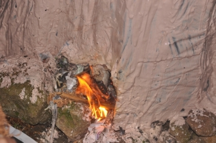 Holes left for lighting the fire