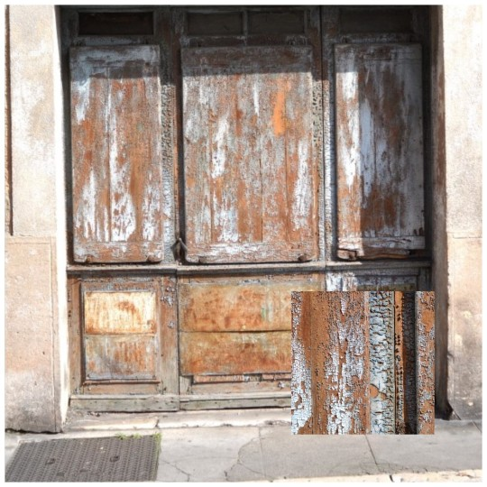 Peeling pint textured door, Vallauris, France, with an inset of the gorgeous textures