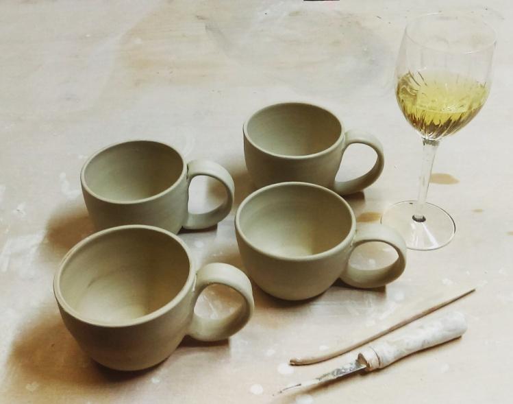 Dawn Whitehand Pottery handmade mugs work in progress